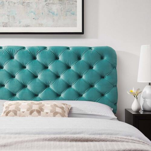 Lizzy Tufted King/California King Performance Velvet Headboard in Teal