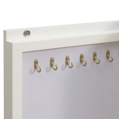 Modern Six Drawer Jewelry Armoire in White & Gold