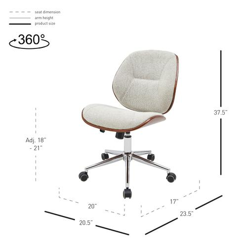 New Pacific Direct - Shaun KD Fabric Bamboo Office Chair, Havana Linen/Walnut