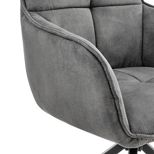 Armen Living - Noah Dining Room Accent Chair in Charcoal Fabric and Brushed Stainless Steel Finish