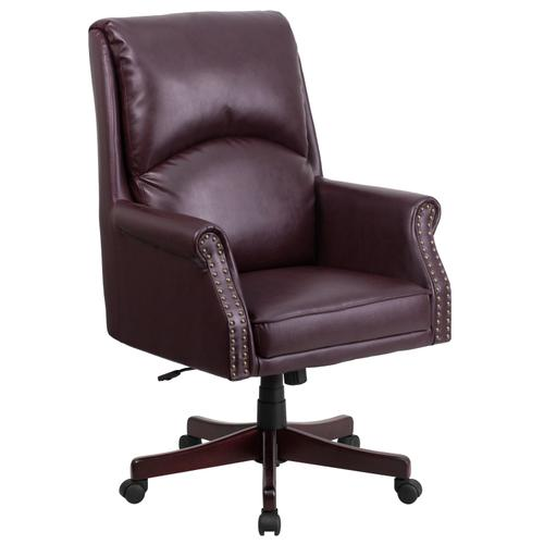 Gallery - High Back Pillow Back Burgundy LeatherSoft Executive Swivel Office Chair with Arms
