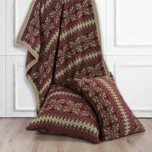 Lodge Fair Isle Red U0026 Brown Knit Throw Blanket