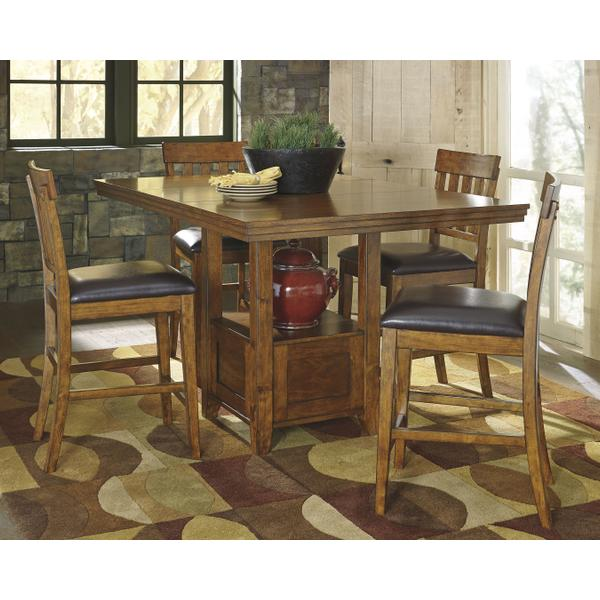 See Details - Counter Height Dining Table and 6 Barstools With Storage