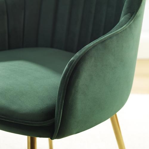 Metal Base Velvet Hunter Accent Chair