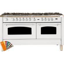 Nostalgie 60 Inch Dual Fuel Natural Gas Freestanding Range in Custom RAL Color with Chrome Trim