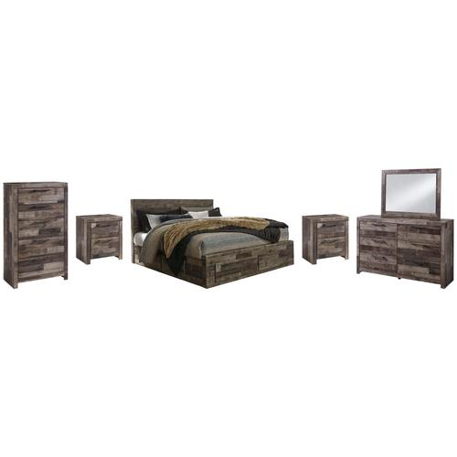 King Panel Bed With 4 Storage Drawers With Mirrored Dresser, Chest and 2 Nightstands
