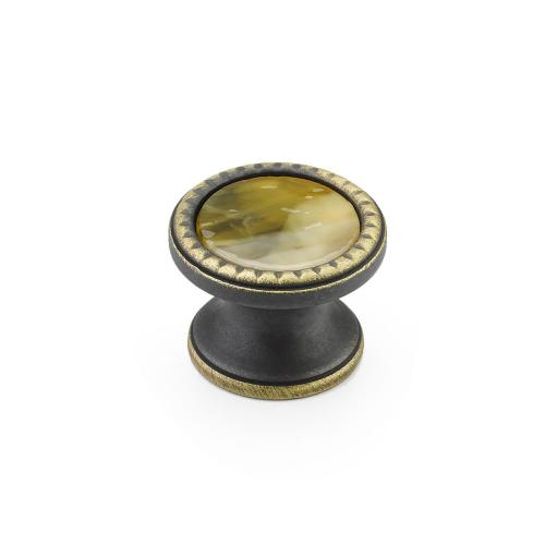 """Kingsway, Knob, Round, 1-1/4"""" dia, Ancient Bronze, Chaparral Glass"""