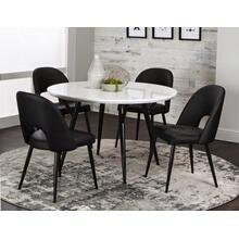 "CR-545-4147-01-5P  5 Piece 48"" Round Dining Table Set  Black and White  Four Chairs"