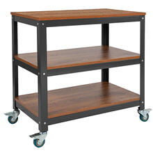 """See Details - Livingston Collection 30""""W Rolling Storage Cart with Metal Wheels in Brown Oak Wood Grain Finish"""