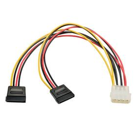 Molex 4-Pin to 2x 15-Pin SATA Power Cable - M/2xF, 26 AWG, 1 ft. (0.31 m)