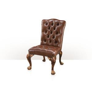 Theodore Alexander - George II Pride Chair, Dark Brown Suede - Button upholstered'
