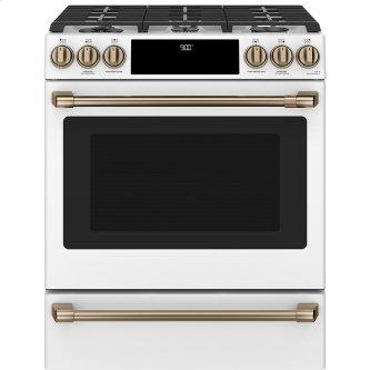 Café ™ 30'' Slide-In Front Control Dual-Fuel Convection Range with Warming Drawer Matte White