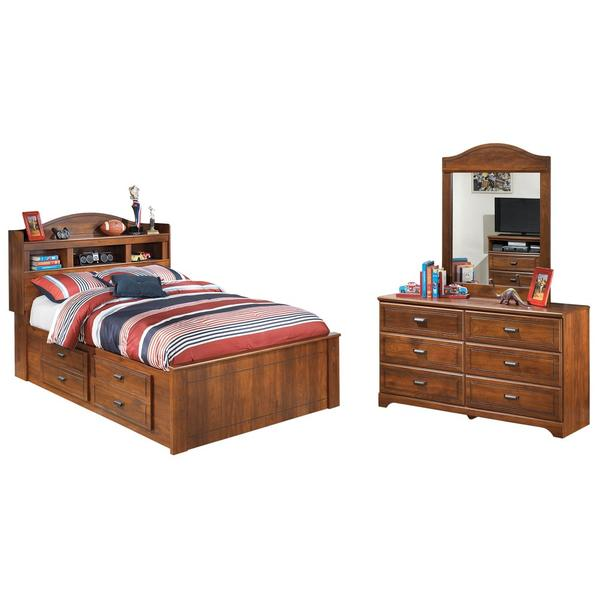 Full Bookcase Bed With 2 Storage Drawers With Mirrored Dresser