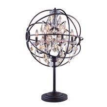 Geneva 6 light Dark Bronze Table Lamp Golden Teak (Smoky) Royal Cut crystal