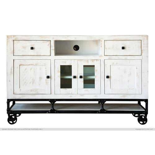 "80"" TV Stand w/ 2 Drawer, 2 Door & 2 Glass Door"