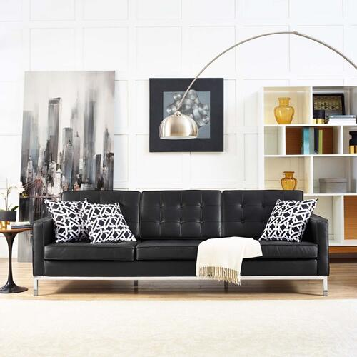 Loft Leather Sofa in Black