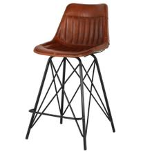Garren Leather Counter Stool, Ale Brown