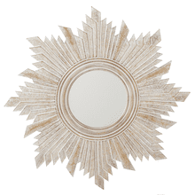 Carved Whitewash Angled Starburst Wall Mirror