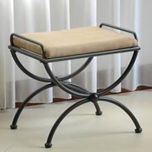 Microsuede Upholstered Iron Iron and Microsuede Vanity Stool - Java