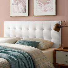 View Product - Lily Biscuit Tufted Full Performance Velvet Headboard in White