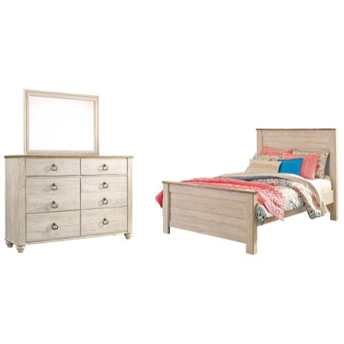 Ashley - Full Panel Bed With Mirrored Dresser