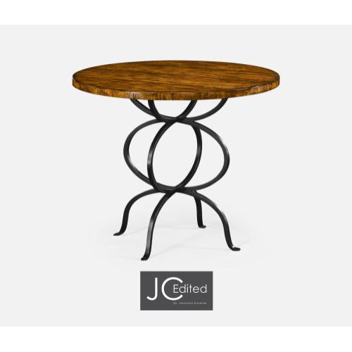 Country Walnut Bistro Style Panelled Round Centre Table