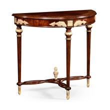 Napoleon III mahogany demilune console with gilded details