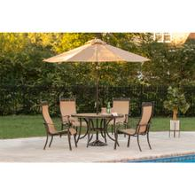 Hanover Monaco 5 Piece Outdoor Dining Set with Umbrella, MONACO5PC-SU