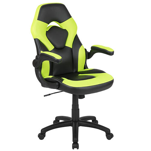 Gallery - Red Gaming Desk and Green\/Black Racing Chair Set with Cup Holder and Headphone Hook