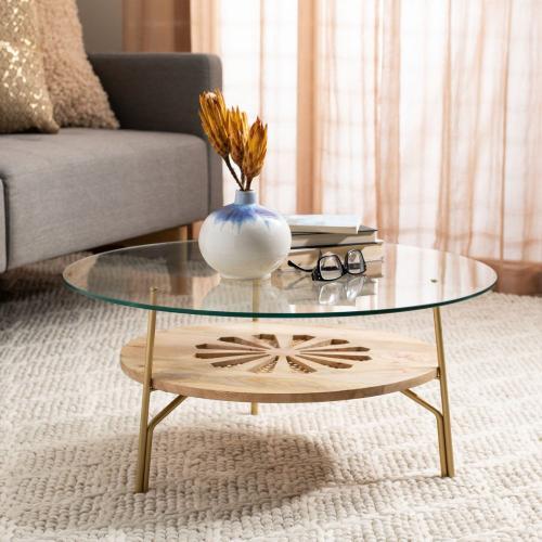 Safavieh - Flora Round Coffee Table - Natural / Brass