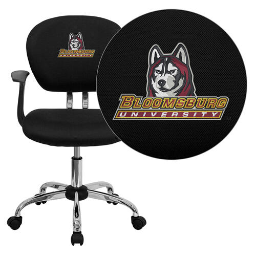 Bloomsburg University Huskies Embroidered Black Mesh Task Chair with Arms and Chrome Base