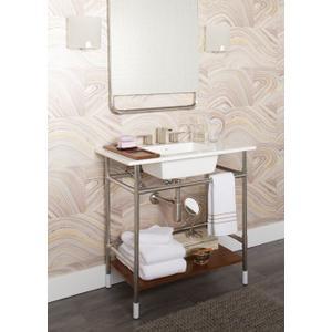 90 Degree brushed nickel two-handle bathroom faucet