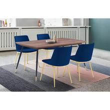 View Product - Messina Blue Velvet and Walnut 5 Piece Dining Set