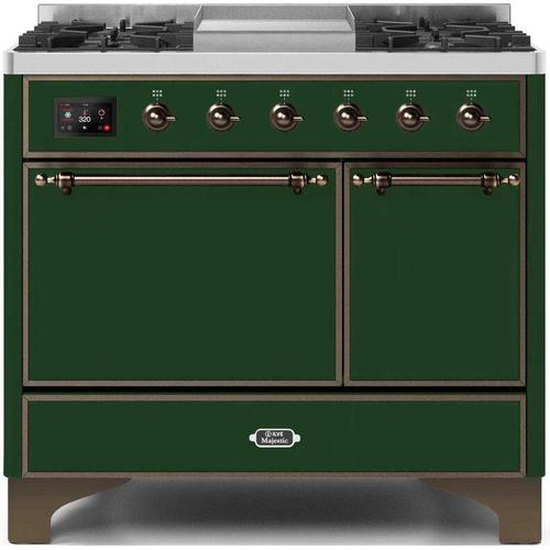 Ilve - Majestic II 40 Inch Dual Fuel Natural Gas Freestanding Range in Emerald Green with Bronze Trim