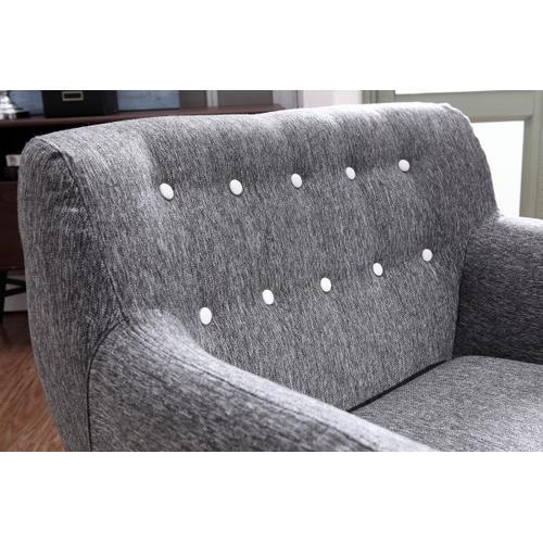 Divani Casa Albany Modern Grey & White Fabric Accent Chair
