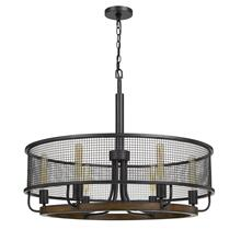 View Product - Aberdeen Mesh Metal/Wood Chandelier (Edison Bulbs Not included)