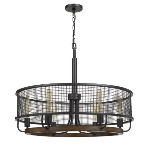 Cal Lighting & Accessories - Aberdeen Mesh Metal/Wood Chandelier (Edison Bulbs Not included)