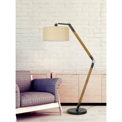 100W Freeport Adjust Able Wood/Metal Arc Floor Lamp With Hardback Burlap Shade