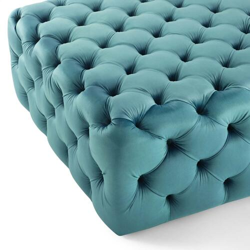 Amour Tufted Button Large Square Performance Velvet Ottoman in Sea Blue