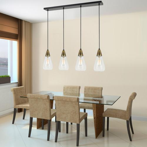 Cal Lighting & Accessories - 60W X 4 Ellyn Glass Pendant (Edison Bulbs Not included)