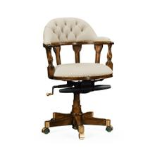 Cream Leather Upholstered Captain's Chair