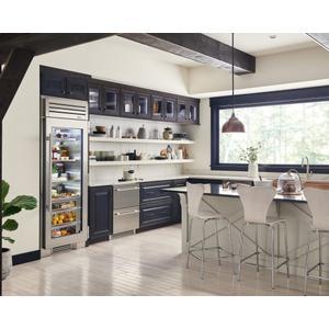 True Residential24 Inch Overlay Glass Door Left Hinge Undercounter Refrigerator