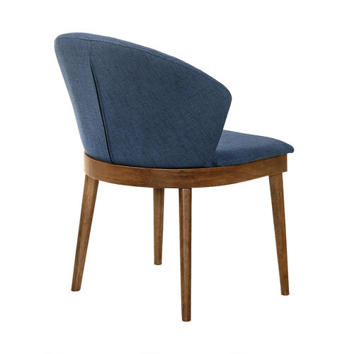 Armen Living - Juno Blue Fabric and Walnut Wood Dining Side Chairs - Set of 2