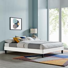 Reign Twin Performance Velvet Platform Bed Frame in White
