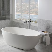 See Details - Free-standing soaking bathtub made of white solid surface with an overflow and a decorative solid surface drain; net weight 298 lbs, water capacity 73 gal.