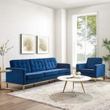 Loft Gold Stainless Steel Leg Performance Velvet Sofa and Armchair Set in Gold Navy