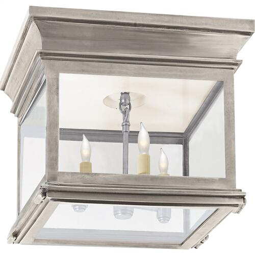 Visual Comfort CHC4128AN-CG E. F. Chapman Club 3 Light 9 inch Antique Nickel Flush Mount Ceiling Light in Clear Glass