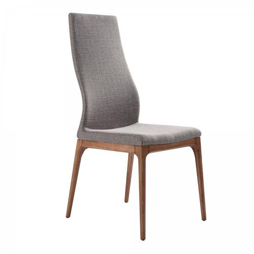Armen Living Parker Mid-Century Dining Chair in Walnut Finish and Gray Fabric - Set of 2