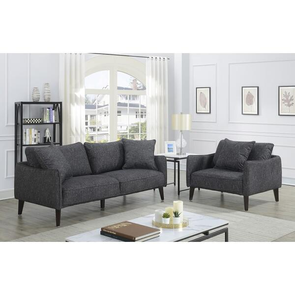 See Details - Asher Charcoal Sofa & 1.5 Chair, U5203