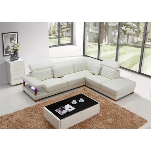Divani Casa T738 Modern White Leather Sectional Sofa